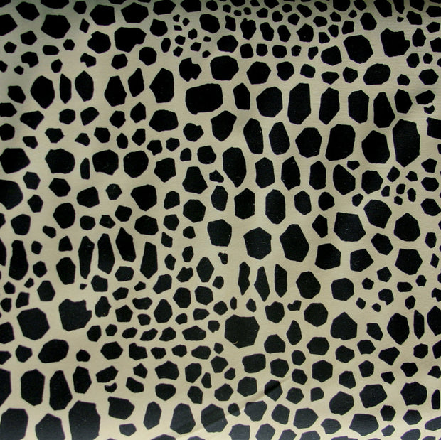 Black Spots on Taupe Nylon Lycra Swimsuit Fabric