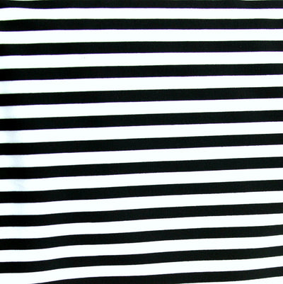 "Black and White 1/4"" Stripe Nylon Spandex Swimsuit Fabric"
