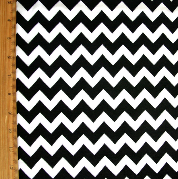 Black Chevron on White Cotton Knit Fabric