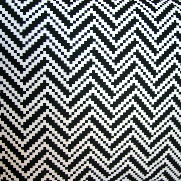 Black/White Digital Zig Zags Nylon Lycra Swimsuit Fabric