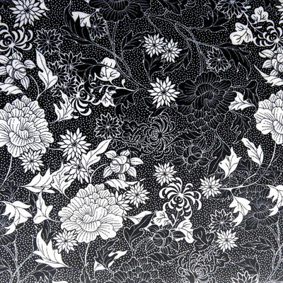 Black and White Floral Nylon Spandex Swimsuit Fabric