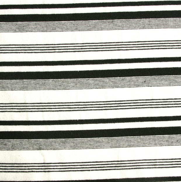 Black/White Thick and Thin Stripe Knit Fabric