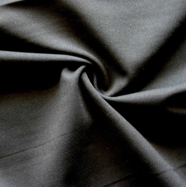 Black Poly Cotton Lycra Wickaway Fabric