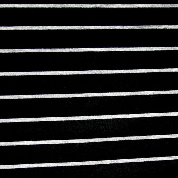 Black/Heathered Grey Stripe Bamboo Lycra Jersey Knit Fabric
