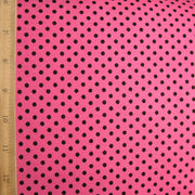 Black Polka Dots on Pink Cotton Lycra Knit Fabric by Anita G