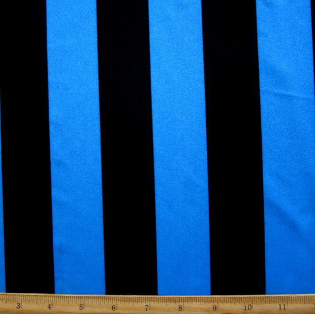 "Royal Blue and Black Vertical 1 5/8"" Stripe Swimsuit Fabric"