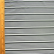 Black Narrow Stripes on White Nylon Lycra Swimsuit Fabric