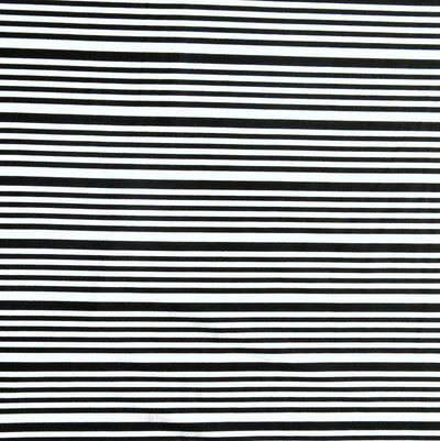 Black Thin and Thinner Stripes on White Nylon Spandex Swimsuit Fabric