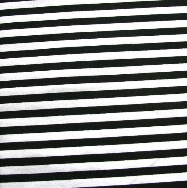 Black and White 3/8 inch wide Stripe Cotton Lycra Knit Fabric