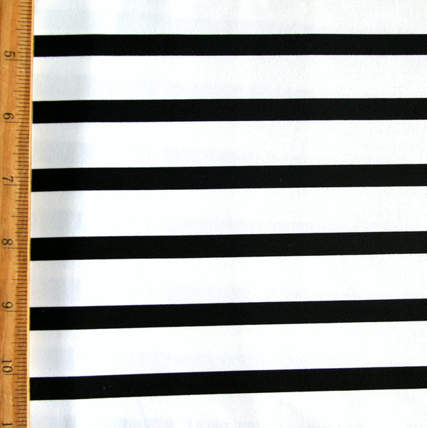 Black/White Twin Negative Stripes Nylon Lycra Swimsuit Fabric