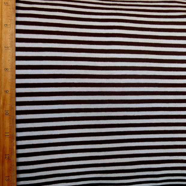 "Brown and Blue 3/16"" wide Stripe Cotton Lycra Knit Fabric"