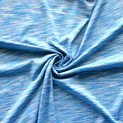 Blue Fizz Space Dye Poly Lycra Knit Fabric