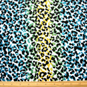 Blue, Green, and Yellow Vertical Leopard Stripe Knit Fabric