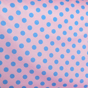 Blue Dime Sized Polka Dots on Pink Nylon Spandex Swimsuit Fabric
