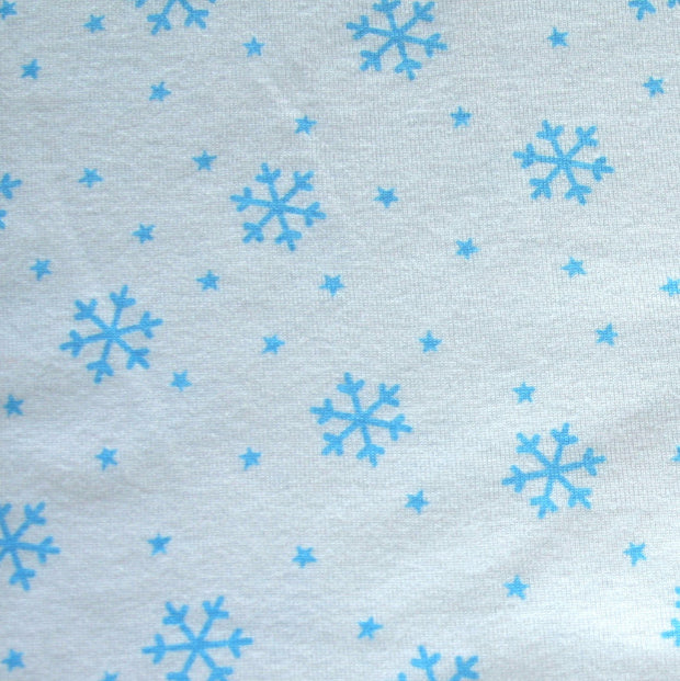 Blue Snowflakes on White Cotton Knit Fabric