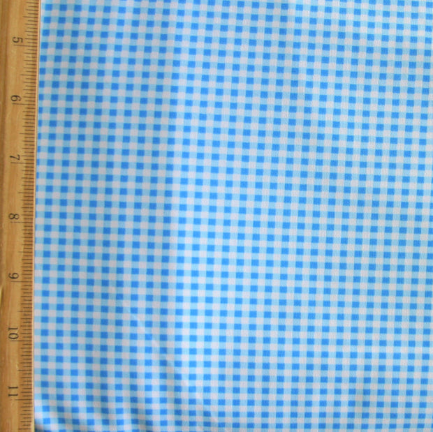 Blue and White Gingham Nylon Lycra Swimsuit Fabric