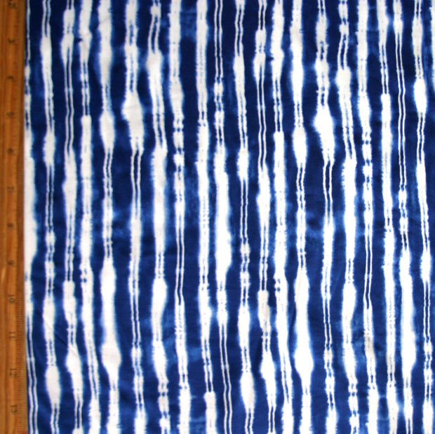 Blue and White Vertical Electric Stripe Nylon Lycra Swimsuit Fabric