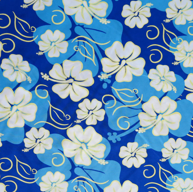 Blue, White, and Yellow Hibiscus Floral on Royal Microfiber Boardshort Fabric