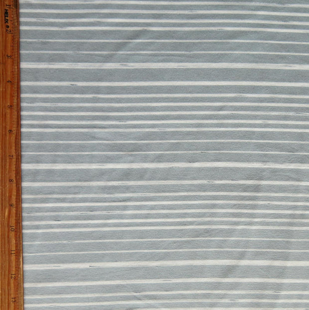Bluish Grey and Cream Thick and Thin Stripe Bamboo Lycra Knit Fabric