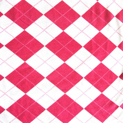 Hot Pink Argyle on White Cotton French Terry Fabric