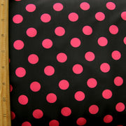 Bright Pink Polka Dots on Black Swimsuit Fabric