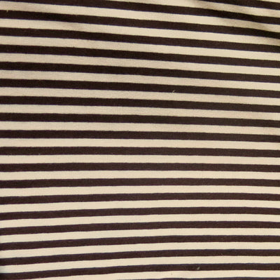 "Brown and Pink 3/16"" wide Stripe Cotton Lycra Knit Fabric"