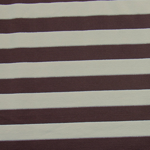 Brown and Taupe Stripes with Silver and Gold Accents Swimsuit Fabric