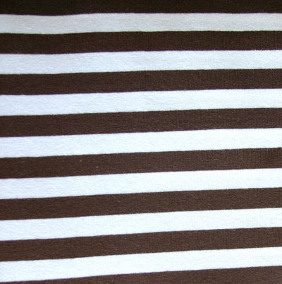 "Brown and White 3/8"" Stripe Cotton Lycra Knit Fabric"