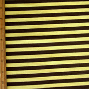 "Brown and Yellow 3/8"" Stripe Cotton Lycra Knit Fabric"