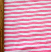 "Bubblegum Pink and White 3/8"" wide Stripe Cotton Lycra Knit Fabric"