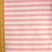 Bubblegum and White Stripe Cotton Lycra Knit Fabric