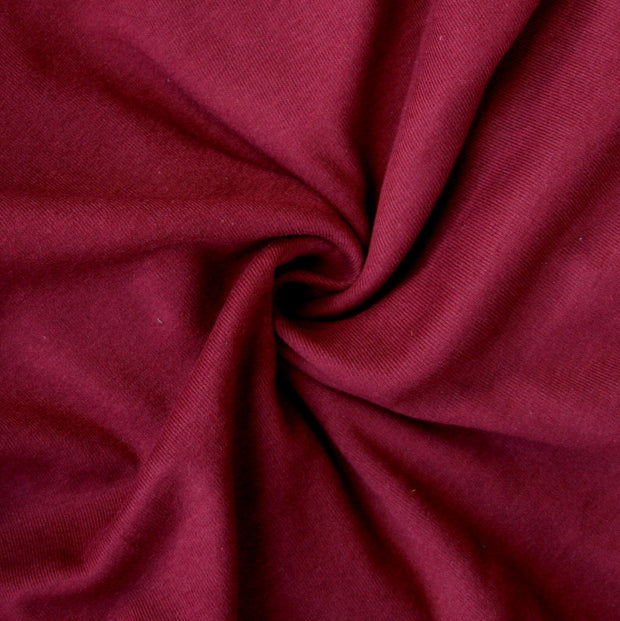 Burgundy Cotton Rib Knit Fabric
