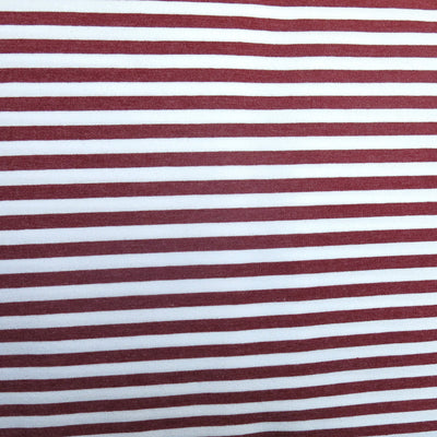 "Burgundy and White 1/4"" wide Stripe Cotton Lycra Knit Fabric"