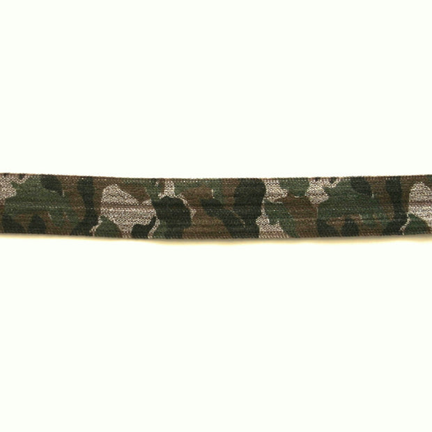 Camoflauge Fold Over Elastic, Brown Background