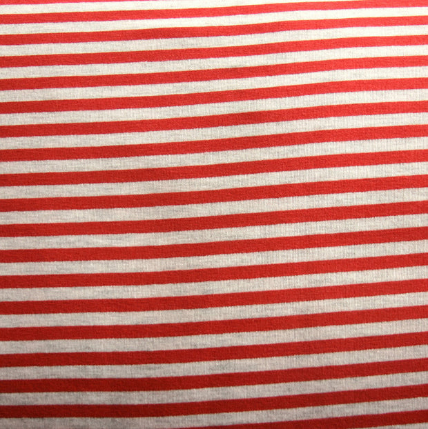 Carmine Red/Heathered Grey Narrow Stripe Bamboo Lycra Knit Fabric