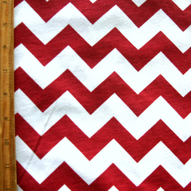Carmine Red Chevrons on White Jersey Knit Fabric