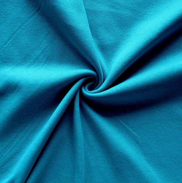 Caribbean Blue Cotton Rib Knit Fabric