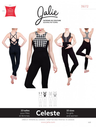 Celeste Open Back Unitards Sewing Pattern by Jalie
