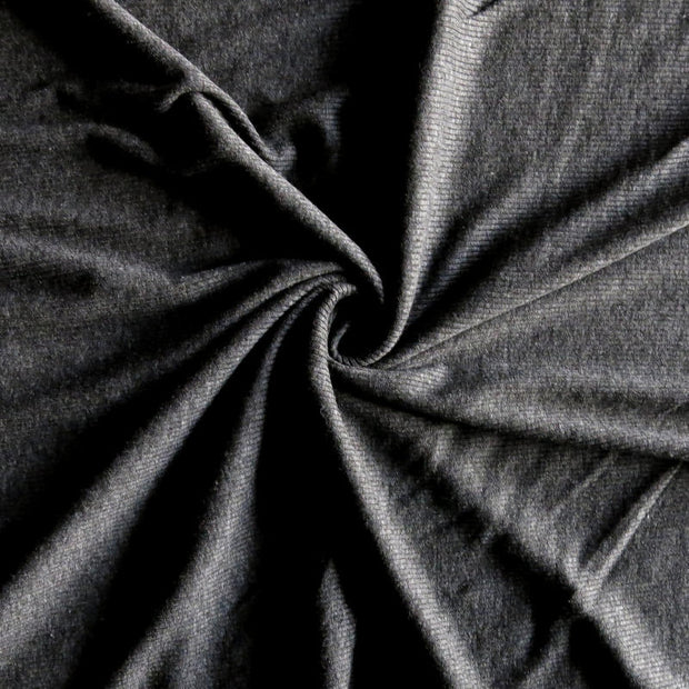 Charcoal Grey 2x1 Cotton Rib Knit Fabric