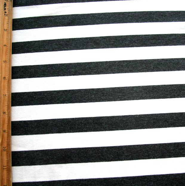 Heathered Charcoal and Ivory Stripes Rayon Lycra Jersey Knit Fabric
