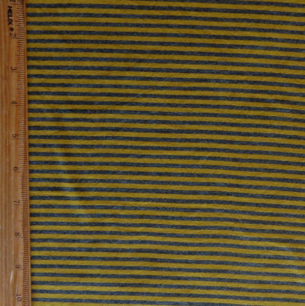 Charcoal and Mustard Micro Stripe Bamboo Lycra Knit Fabric