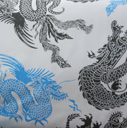 Chinese Dragons Boardshort Fabric, Blue/Black Colorway