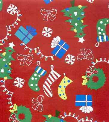 Trees, Stockings, and Presents Cotton Rib Knit Fabric