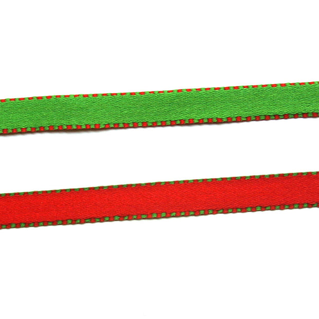 Christmas Reversible Narrow Woven Ribbon Trim
