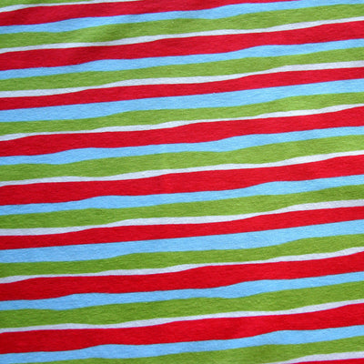 Christmas Wavy Stripes Cotton Lycra Knit Fabric