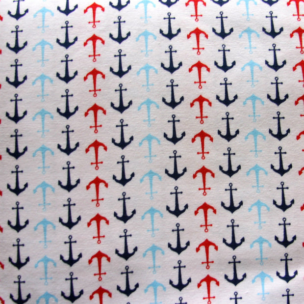 Multi Anchors on White Cotton Lycra Knit Fabric by Riley Blake