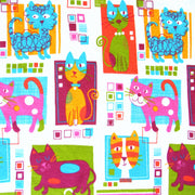 Colorful Cats Cotton Knit Fabric