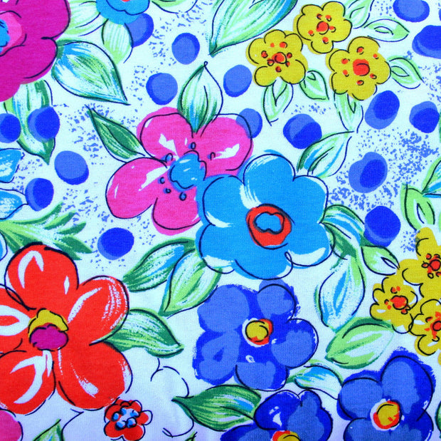 Colorful Daisy Garden Cotton Knit Fabric