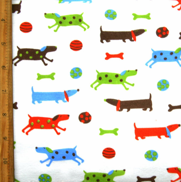 "Playful Doggies Cotton Knit Fabric - 28"" Remnant Piece"