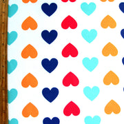 Colorful Hearts on Ivory Nylon Lycra Swimsuit Fabric